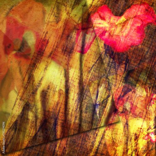 Foto auf Gartenposter Schmetterlinge im Grunge grunge floral card design
