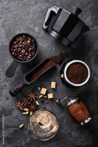 coffee on dark stone background