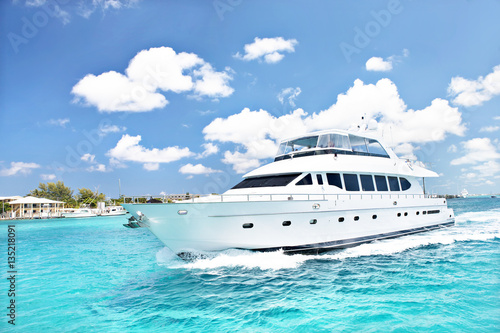 Speed boat front view with colorful sky