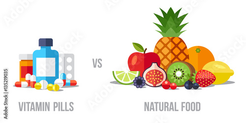 Fototapeta Vector illustration of vitamin pills vs. natural food. Healthy eating concept. Flat style. obraz