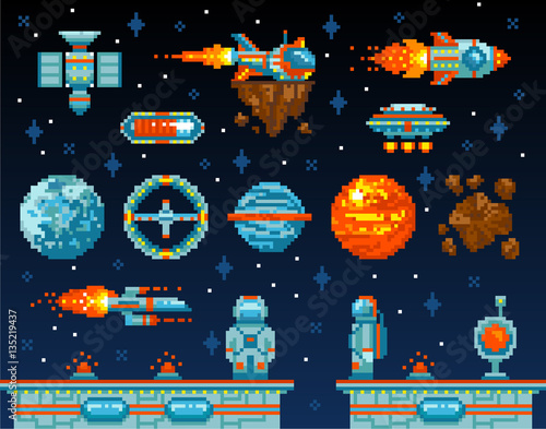 Vintage Game Design Interface Arcade Game Elements Vector Il Ration Vintagee Level Platform Game Interface Design