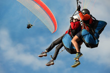 Two Paraglider Tandem Fly Agai...