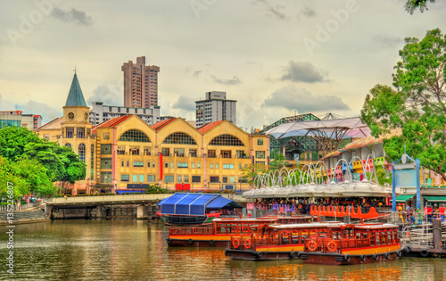 Tuinposter Singapore Heritage boats on the Singapore River