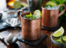 Moscow Mule Cocktail In Copper Mug