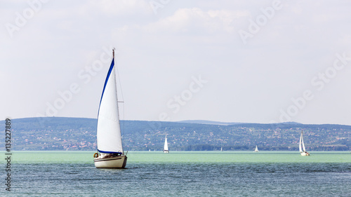 Photo  Sailboats on the lake in Hungary.