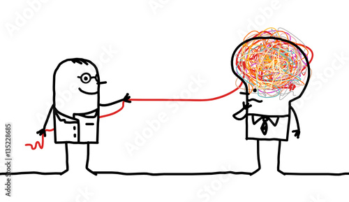 Valokuva  Cartoon man untangling a brain