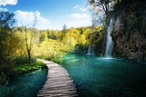 Fototapeta Natura - Waterfall in forest,  Plitvice, Croatia