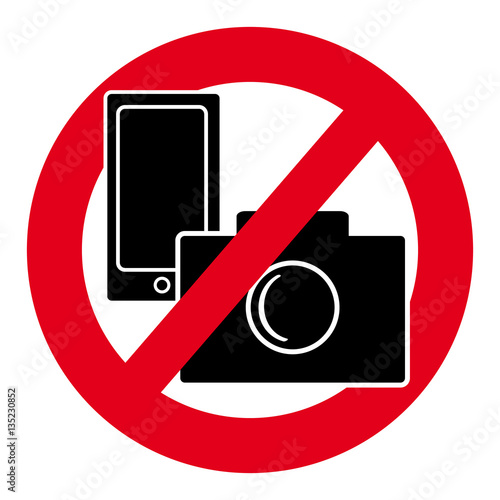 No Camera And Mobile Phone Symbol On White Background Buy This