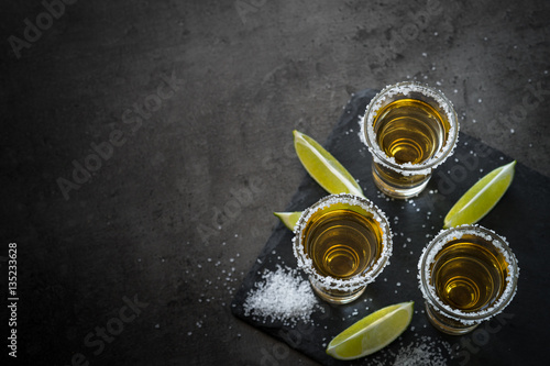Canvas Print Tequila shot with lime and sea salt