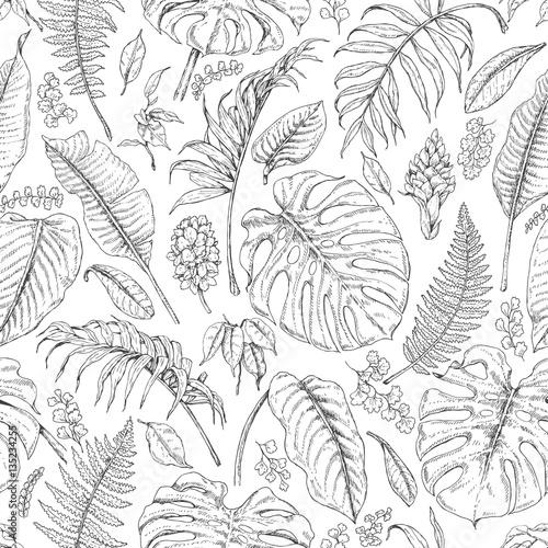 Materiał do szycia Ręcznie rysowane roślin tropikalnych wzór