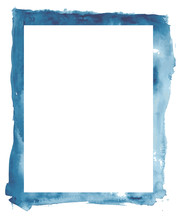 Abstract Blue Watercolor Frame And White Space