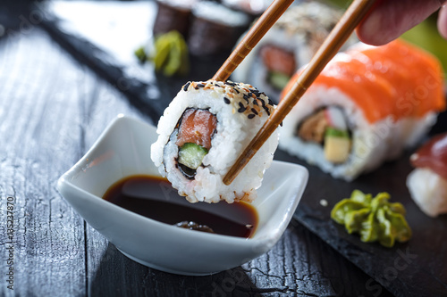 Photo Stands Sushi bar Sushi Verschiedene sorten