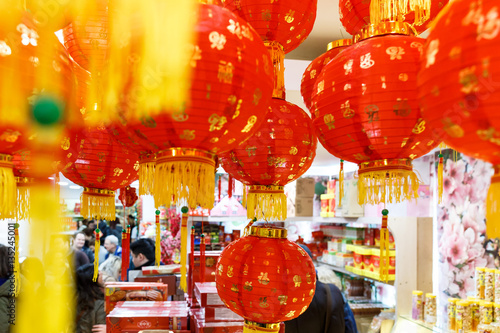 Shop in London decorated for Chinese New year