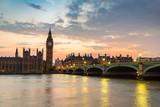 Fototapeta Londyn - Big Ben, Parliament, Westminster bridge in London