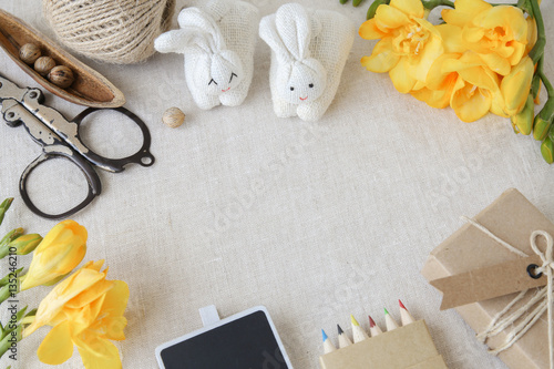 Easter craft and yellow flowers mockup set Wallpaper Mural