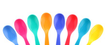 Eight Colorful Plastic Spoons