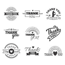 Thank You Text Lettering Vecto...