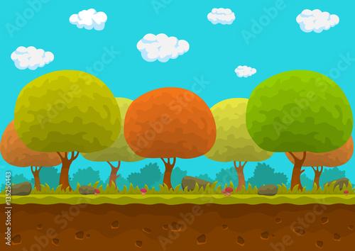 Spoed Foto op Canvas Turkoois Cartoon forest.