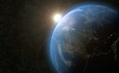 earth globe sun outer space 3D universe illustration