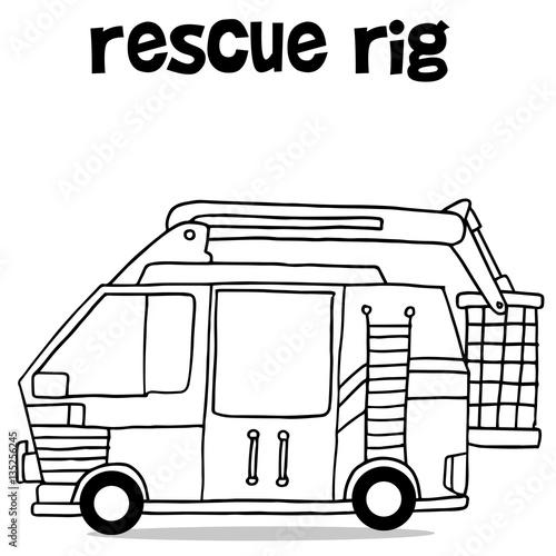 In de dag Cartoon draw Hand draw of rescue rig