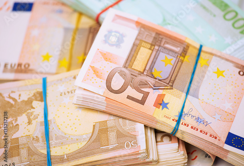 Foto op Aluminium Imagination Euro. Money. Closeup cropped image macro photo of European union currency bills, euro banknotes stack, pile. Financial reward, savings, lottery win, payment, bank account concept. Finances, liquidity