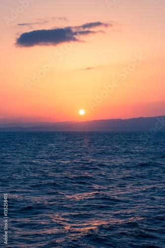 Staande foto Zee / Oceaan Sunset Sea on the Shipboard,Off the Coast of Fukushima,Japan