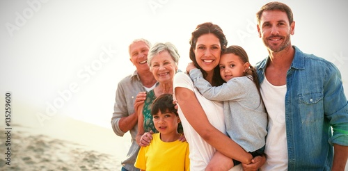 Fotografie, Obraz  Portrait of family at beach