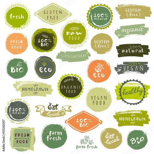 Fotografía  Organic food labels set