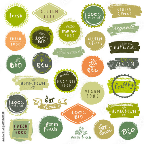 Fotografiet  Organic food labels set