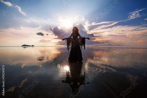 Elegant woman walking on water. Sunset and silhouette. Canvas-taulu
