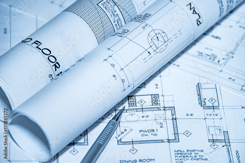 Fotografie, Obraz  architecture blueprints and house plans on the table and technical pencil