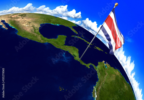Costa rica national flag marking the country location on world map costa rica national flag marking the country location on world map 3d rendering parts gumiabroncs Images