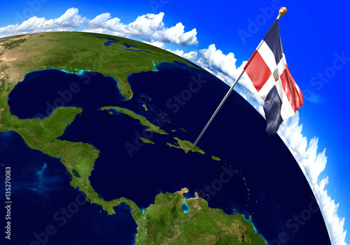 Dominican Republic National Flag Marking The Country Location On World Map.  3D Rendering, Parts