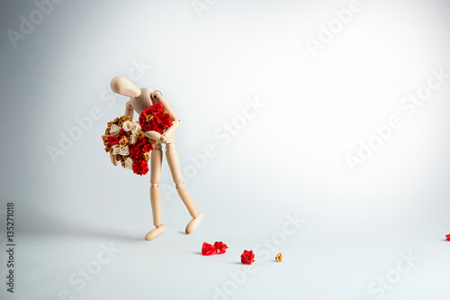 Canvas Print wooden mannequin with heart