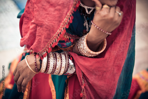 Detail Of Traditional Rajasthani Clothing And Jewellery Canvas Print