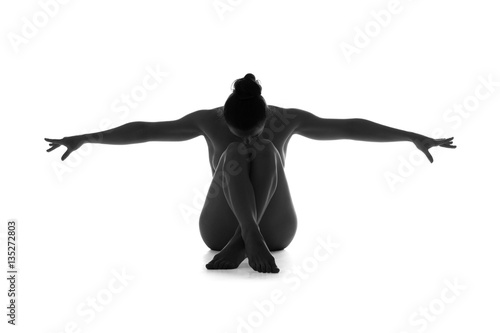 Poster Akt Nude yoga, artistic photos of beautiful sexy body of young woman with perfect figure, isolated on white background