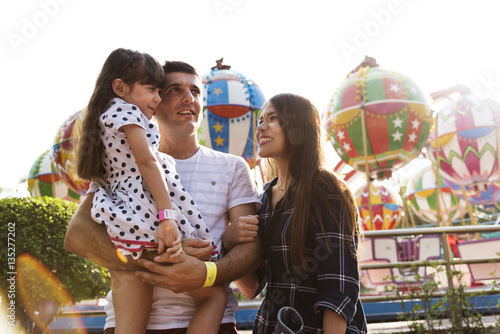 Poster Attraction parc Family Holiday Vacation Amusement Park Togetherness