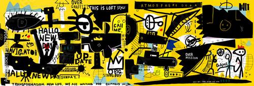 Staande foto Cartoon cars Граффити