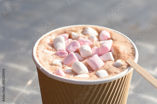 Takeaway hot chocolate drink with marshmallows