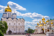 Cathedral Of The Archangel And Cathedral Of The Annunciation On Cathedral Square, Moscow Kremlin, Russia