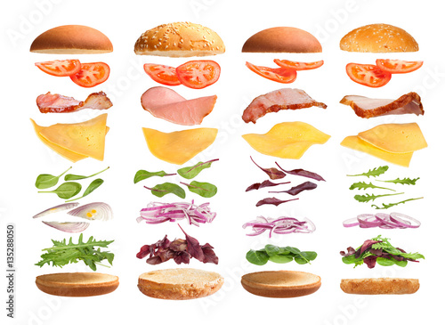 Photo  Burger with ingredients on a white background