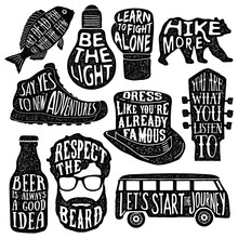 Set Of Hand Drawn Vintage Labels With Textured Illustrations And Inspirational Quotes