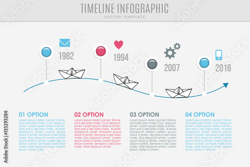 Timeline Report Template With Buttons Icons And Sketch Of Paper Boats Vector Illustration Infographic