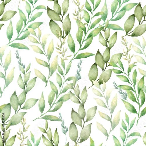 Gałązki z liśćmi malowane akwarelami