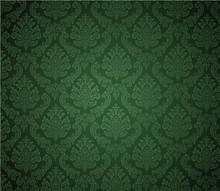 Damask Background Dark Green