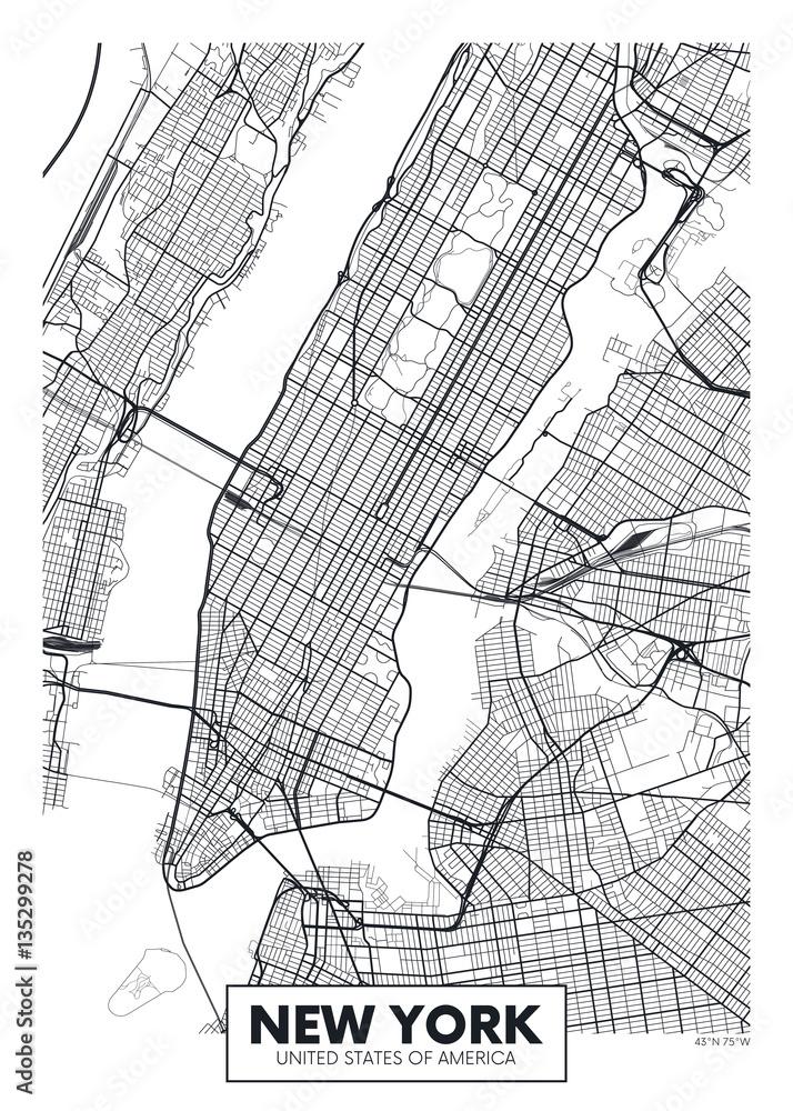Fototapeta Mapa - New York