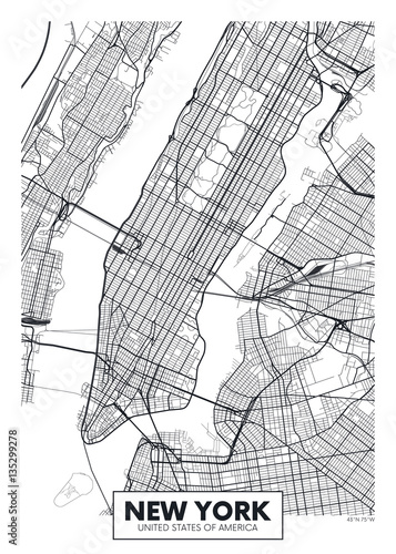 Fotomural Vector poster map city New York