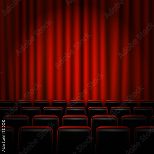 In de dag Theater Movie cinema premiere poster design with red curtains. Vector banner.
