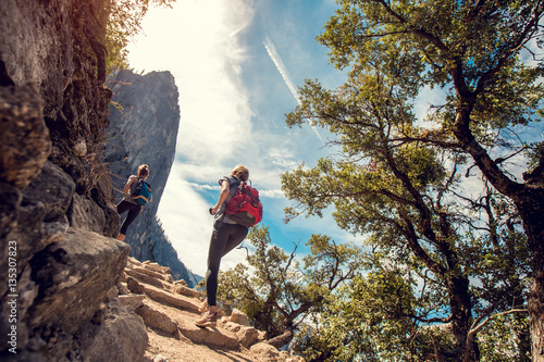 Two lady hiker on the walkway at the Yosemite National Park, USA Canvas Print