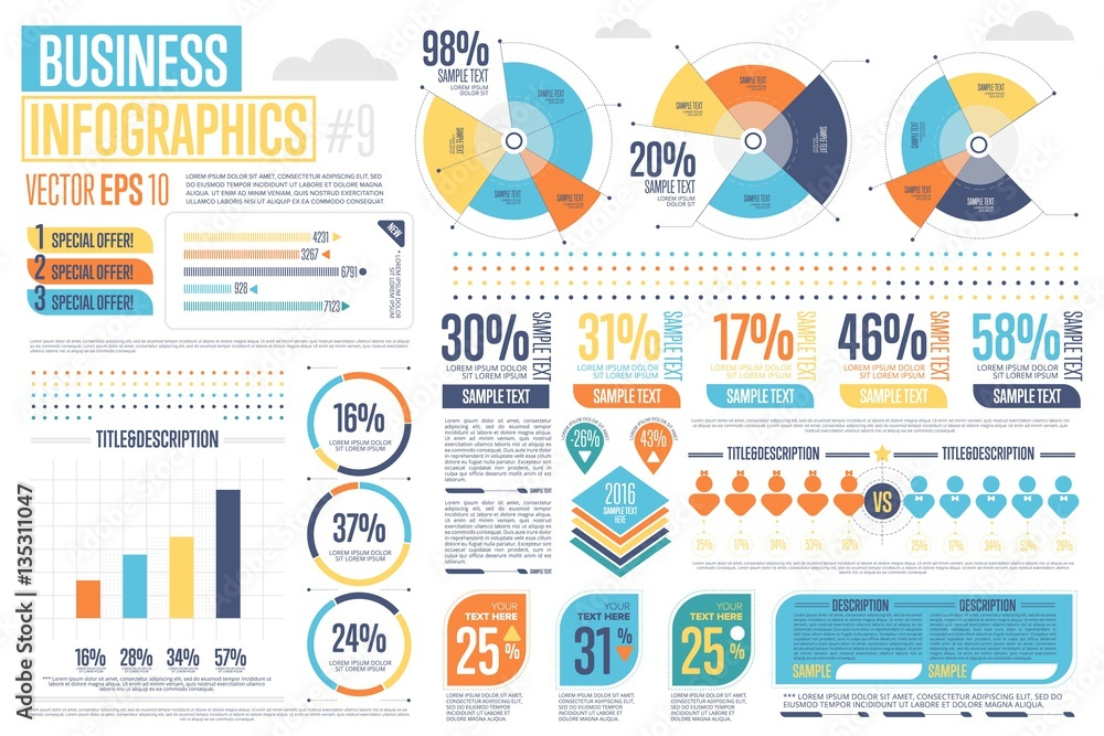 Fototapety, obrazy: Business infographics set with different diagram vector illustration. Abstract data visualization, marketing charts and graphs. Business statistics, planning and analytics, forecasting growth rates